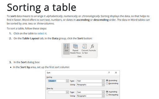 Sorting a Table