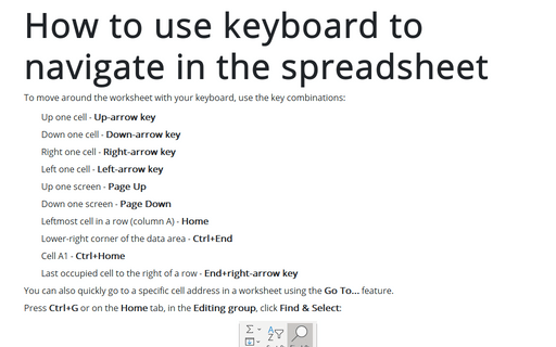 How to use keyboard to navigate in the spreadsheet