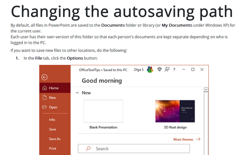 Changing the autosaving path