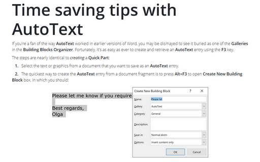 Time saving tips with AutoText