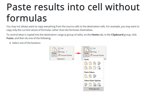Paste results into cell without formulas