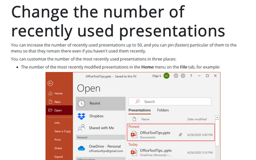 Change the number of recently used presentations
