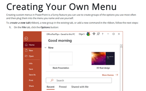 Creating Your Own Menu