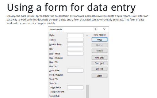 Using a form for data entry