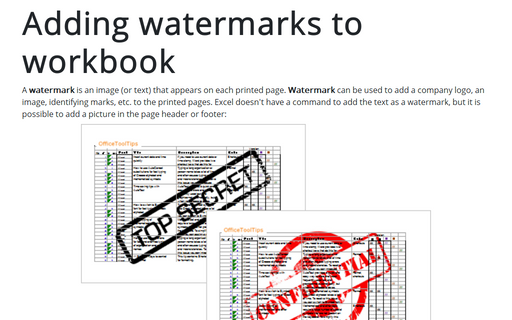 Adding watermarks to workbook