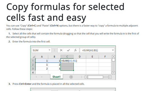 Copy formulas for selected cells fast and easy