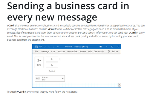 Sending a business card in every new message