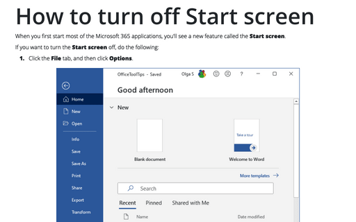How to turn off Start screen