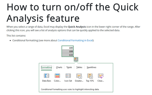 How to turn on/off the Quick Analysis feature
