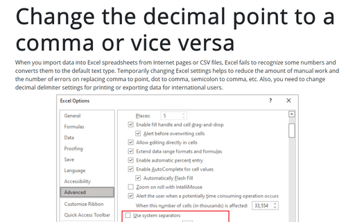 Change the decimal point to a comma or vice versa