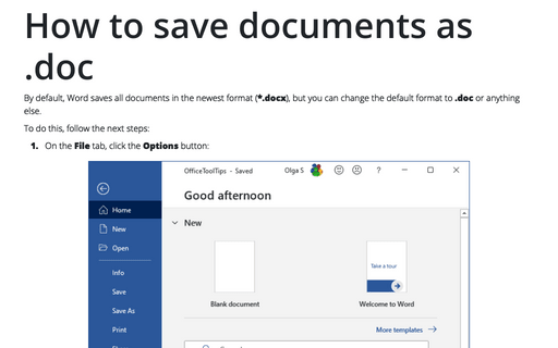 How to save documents as .doc