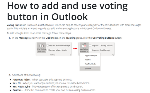 How to add and use voting button in Outlook