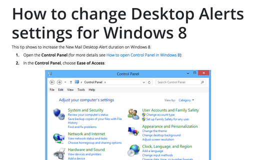 How to change Desktop Alerts settings for Windows 8