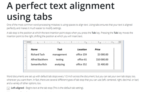 A perfect text alignment using tabs