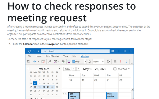 How to check responses to meeting request