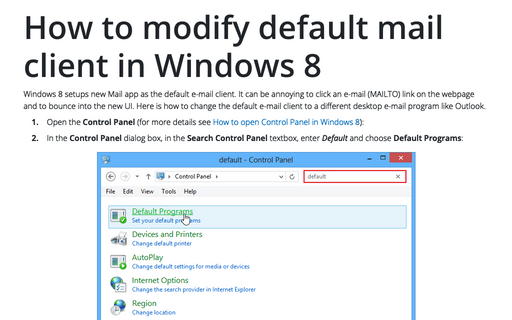 How to modify default mail client in Windows 8