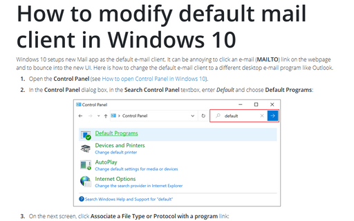 How to modify default mail client in Windows 10