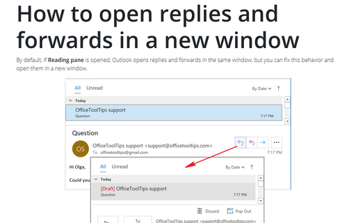 How to open replies and forwards in a new window