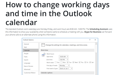 How to change working days and time in the Outlook calendar