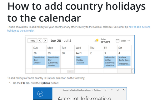 How to add country holidays to the calendar