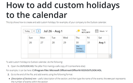 How to add custom holidays to the calendar