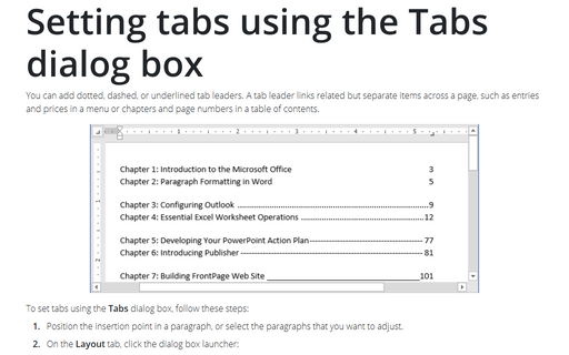 Setting tabs using the Tabs dialog box
