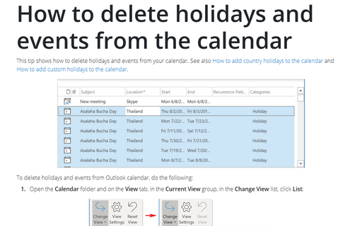 How to delete holidays and events from the calendar