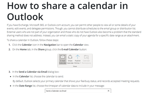 How to share a calendar in Outlook