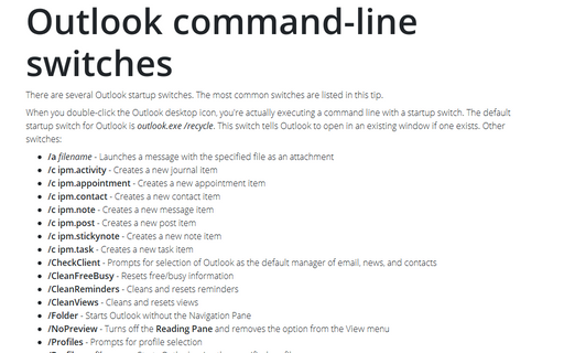 Outlook Command-Line Switches