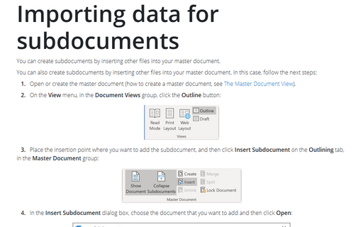 Importing data for subdocuments