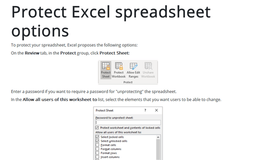 Protect Excel spreadsheet options