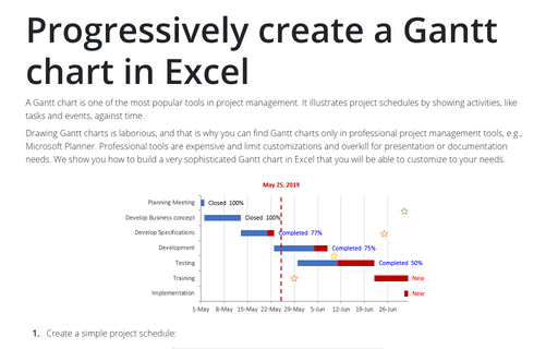 Progressively create a Gantt chart in Excel