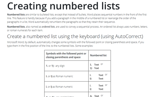 Creating numbered lists