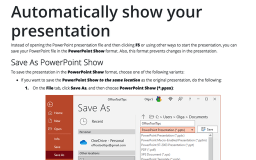 Automatically show your presentation