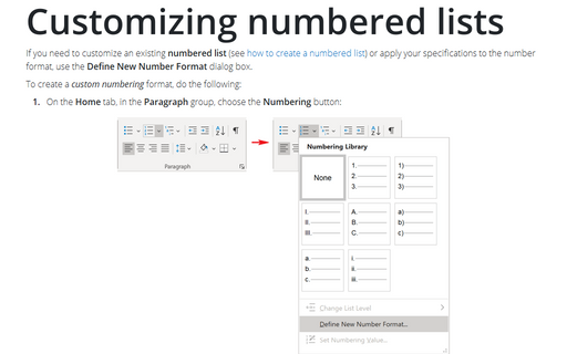 Customizing numbered lists