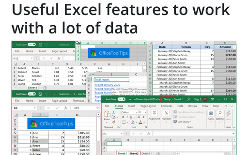 Useful Excel features to work with a lot of data
