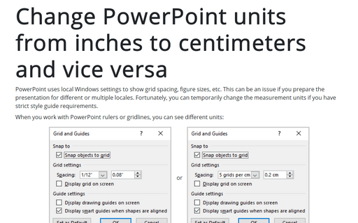 Change PowerPoint units from inches to centimeters and vice versa