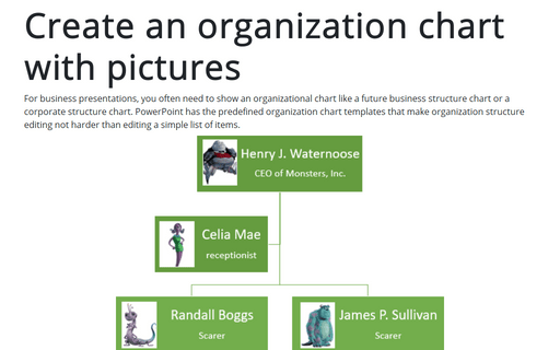 Create an organization chart with pictures