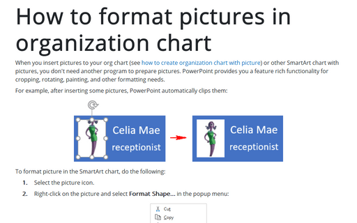 How to format pictures in organization chart