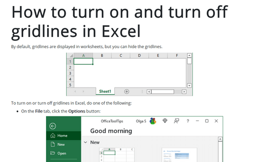 How to turn on and turn off gridlines in Excel
