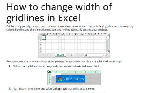 How to change width of gridlines in Excel
