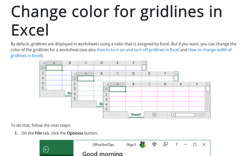 Change color for gridlines in Excel