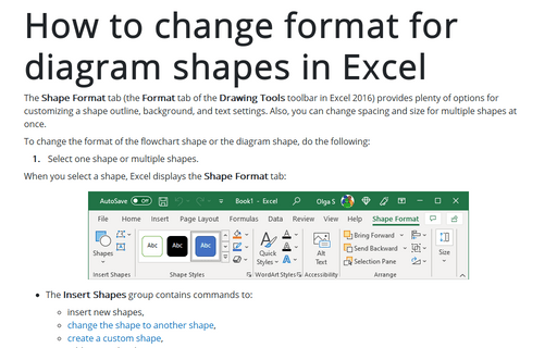 How to change format for diagram shapes in Excel