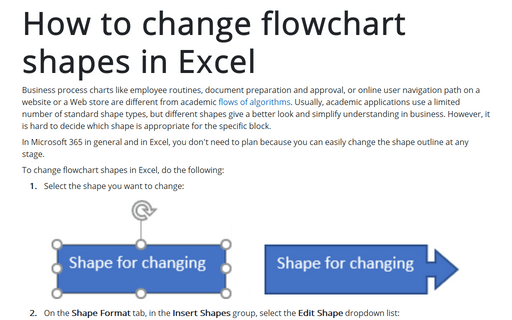 How to change flowchart shapes in Excel