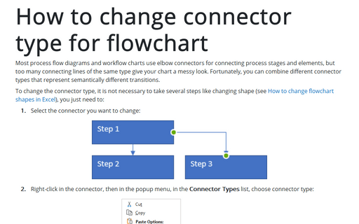 How to change connector type for flowchart