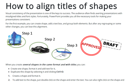 How to align titles of shapes