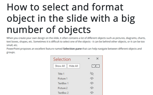How to select and format object in the slide with a big number of objects