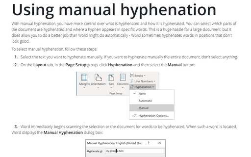Using manual hyphenation