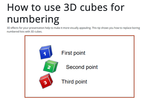 How to use 3D cubes for numbering