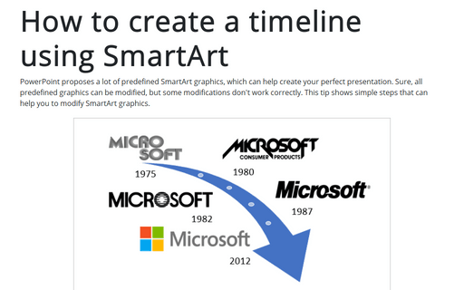 How to create a timeline using SmartArt
